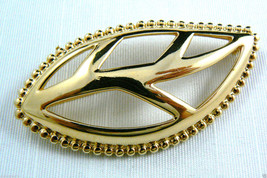LARGE SIGNED MONET GOLD TONE METAL LEAF PIN BROOCH NEW - $15.05