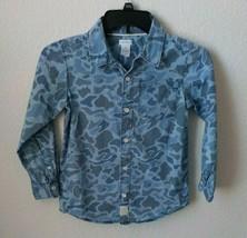 Carter's Camo Shirt Boy size 7 Blue Camo Button Down Long sleeves - $6.44