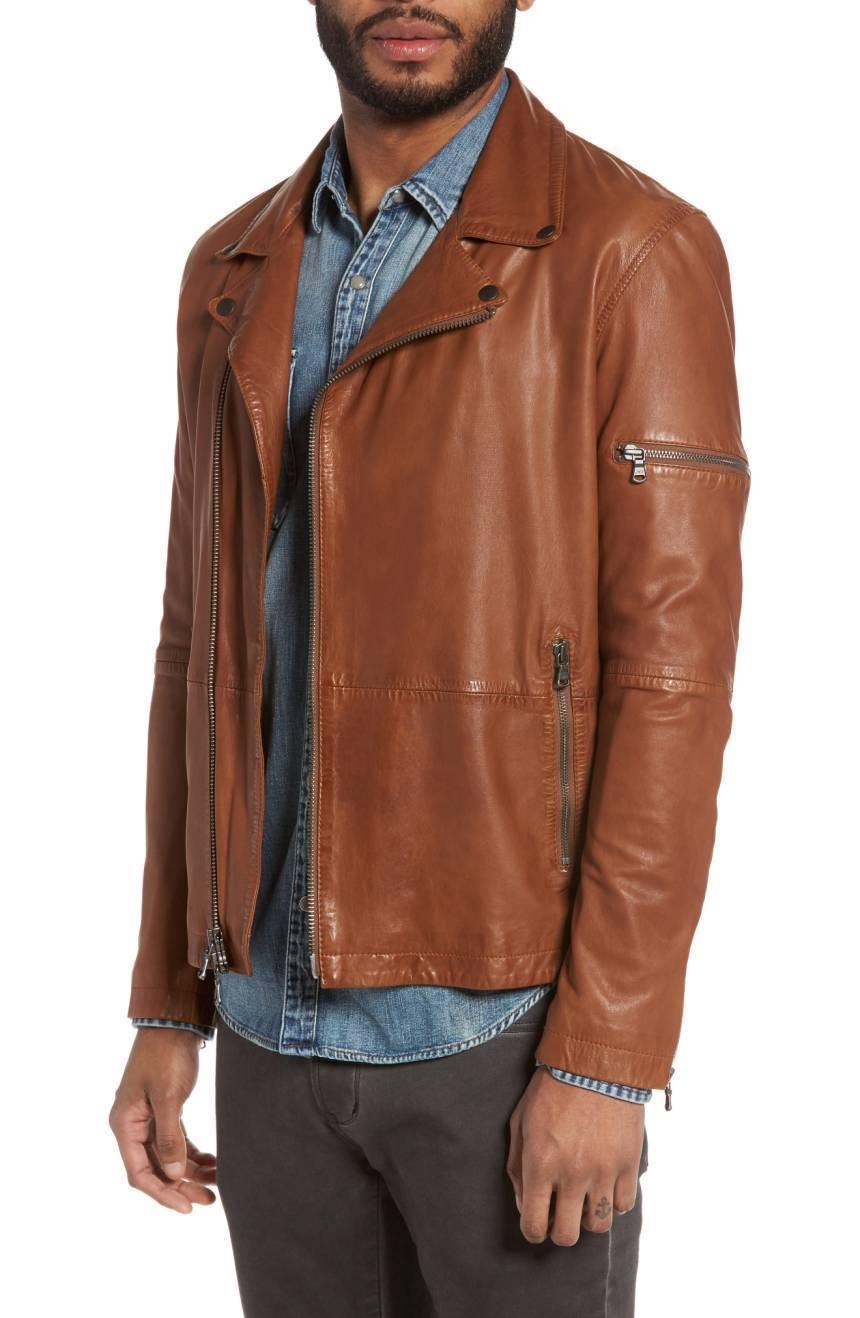 New Men's Genuine Lambskin Leather Jacket  Slim fit Biker Motorcycle jacket-G47