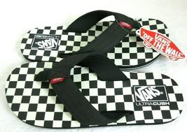 Vans Mens T Street Print Checkerboard Black White Flip Flops Size 12 Fre... - $29.69