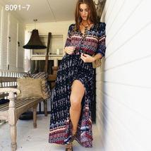 Women's New Boho Floral Print Long Maxi Beach Sundress image 12