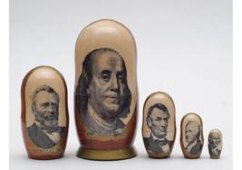 "Matryoshka nesting doll American politicians on USA dollars Free shipping 6"" - $64.90"