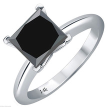 2.00 CARAT 14k White Gold Princess Cut Black Diamond Solitaire Engagemen... - $426.02