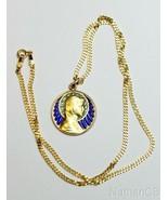 Vintage 18 K Gold Plique-à-Jour The Virgin Mary Pendant Medal circa 1930... - $1,188.00