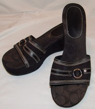 Coach Womens Black Signature Wedge Heel Sandals 9M 9 M Tyra II Shoes - £28.58 GBP