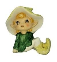HOMCO 5213 Sitting Pixie Elf Fairy Porcelain Figurine 4 Inch Green Taiwan - $11.88