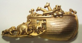 Vintage AMERICAN JEWELRY CO AJC Gold Tone Noah's Ark  Pin Brooch 1980s - $9.99