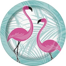 "Pink Flamingo 8 Ct Paper Lunch Dinner 9"" Plates  Palm - $3.29"