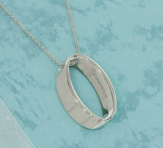 "Tiffany & Co Sterling Silver Geometric Oval Pendant 16"" Necklace - $148.50"