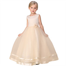 Baby Girl Long Tulle Evening Dress Flower Party Formal Prom Gown Teenage... - $26.91