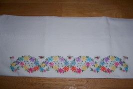 Vintage Hand Embroidered Pillowcase Heart Motif... - $8.91