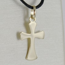 SOLID 18K YELLOW GOLD CROSS, CROSS OF LIFE, ANKH SHINY 0.9 INCHES MADE IN ITALY image 1