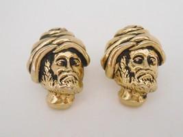 Swank Cufflinks Genie Turban Nomad Swami Figural Man Cuff Links Vintage - $23.75