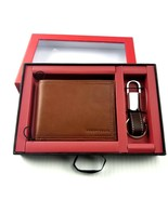 Perry Ellis Wallet & Fob Key Chain Gift Set Tan MSRP $45 - $44.55