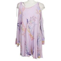 FREE PEOPLE Lilac Purple Clear Skies Floral Cold Shoulder Tunic Mini Dress M - $59.99