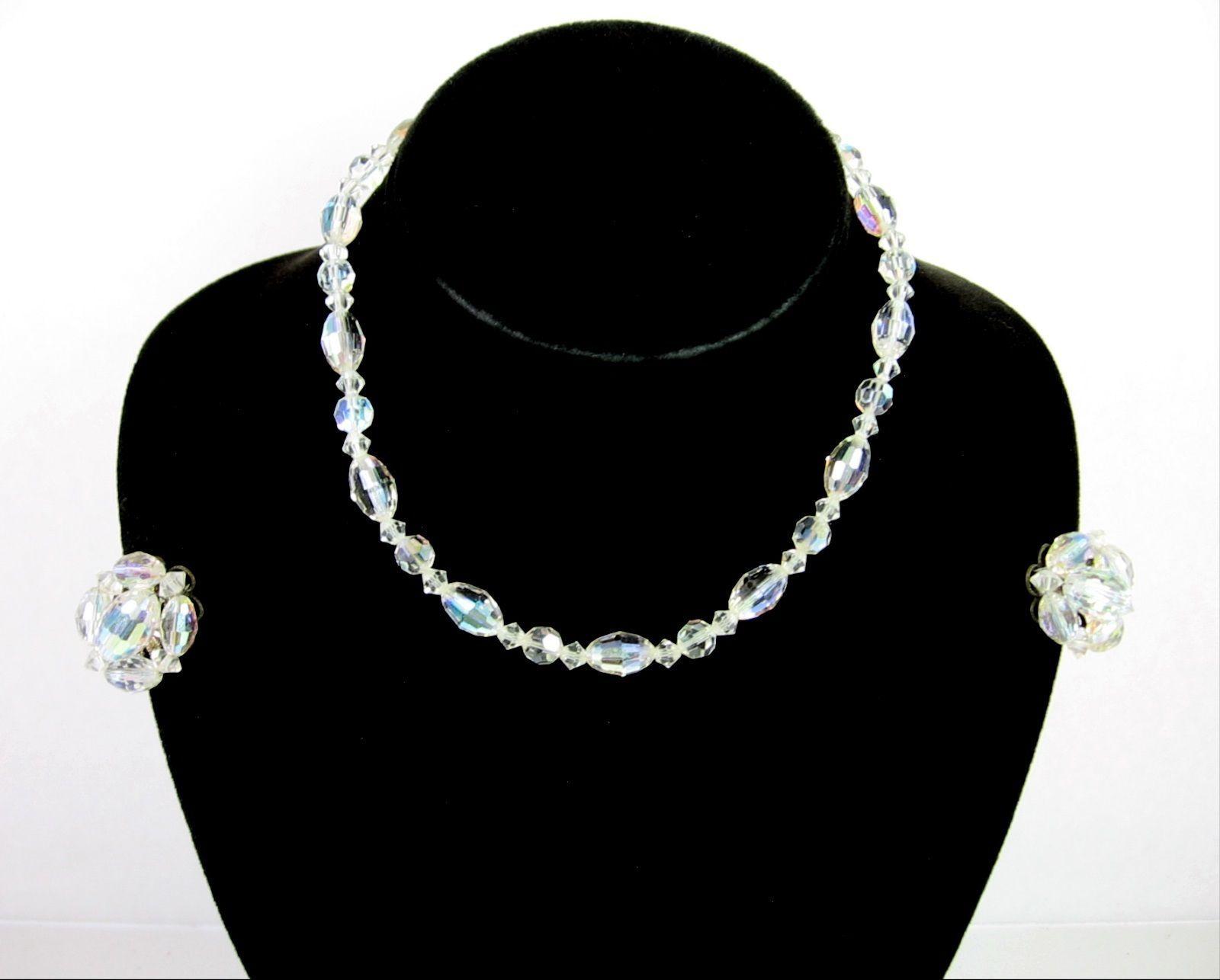 Aurora Borealis CRYSTAL OVAL Bead NECKLACE & Clip On EARRINGS Vintage Set AB