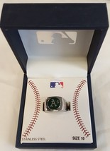 MLB OAKLAND ATHLETICS STAINLESS STEEL RING, SIZE 10 - $10.39