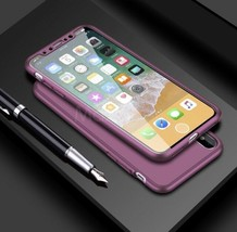 iPhone X Rose Violet shockproof 360 Full cover Protection Case with glas... - $11.84