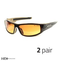 2 Pair Sport Wrap Hd Night Driving Sunglasses High Definition Glasses Brown T - $9.99