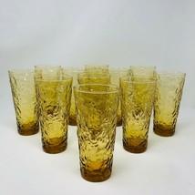 Mid Century Modern Amber Glasses Vintage Anchor Hocking Lido Crinkle Gla... - $84.15