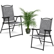 Folding Lawn Chairs Set 2 Quality Gray Outdoor Patio Camping Deck Garden... - £63.52 GBP
