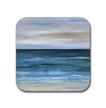Rubber coasters set of 4, Sea View 266 Beach Beachy sea ocean blue L.Dumas - $10.99