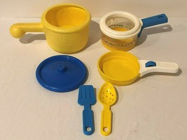 Fisher Price Vintage Lot Fun With Food Fry Pan First Years Pot Lid Prete... - $49.99