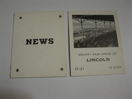 1958 Star Reporter Board Game Piece: News Card - Lincoln - $1.00