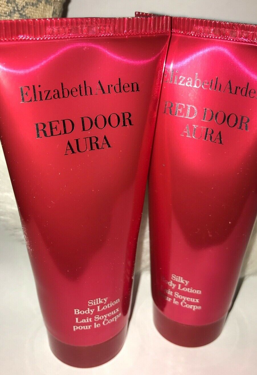 2 X RED DOOR Aura Silky Body Lotion Elizabeth Arden 3.3 oz Each ~ New Unboxed image 1