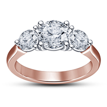 Three Stone Engagement Ring 14k Rose Gold Plated 925 Silver Round Cut White CZ - $70.33