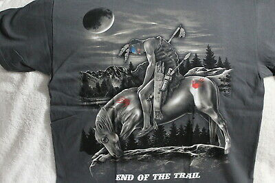INDIAN BRAVE ON HORSE MOON END OF THE TRAIL NATIVE AMERICAN GRAY T-SHIRT SHIRT