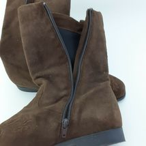 Jack Sprat Brown Suede Genuine Leather Floral Embroidered Sz 10 M Ankle Boots image 3