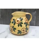 Vintage Erphila France Folk Art Pottery Pitcher Jug Yellowware Hand Painted - $43.56