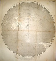 1824 MAP PERSPECTIVE PROJECTION SOUTHERN HEMISPHERE ON PLANE HORIZON OF ... - $114.30