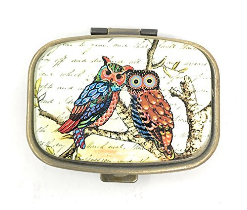 Funky Owls Pill Box - 2 Compartments - Brass and Glass
