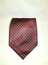 Kenneth Cole Reaction Burgundy Striped Geometric 100% Silk Men's Tie / N... - $16.00