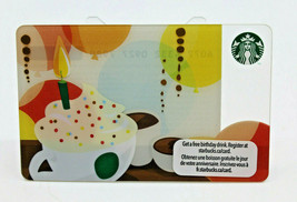 Starbucks Coffee 2011 Gift Card Happy Birthday Candle Green Mugs Zero Ba... - $22.54