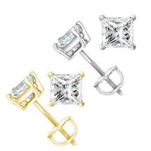 1.30ct Women Square Princess Moissanite 14k Gold Stud Earrings Charles &... - $356.44