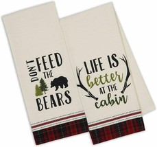 Cabin Rules Dish Towels Set of 2 Don't Feed The Bears Life is Better Cot... - $19.79