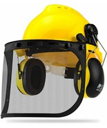 Safety Helmet Hard Hat Face Shield w/ Ear Muffs & Clear Polycarbonate Vi... - $29.99