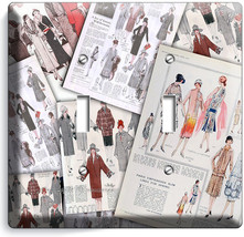 Retro Fashion Magazine Pages Double Light Switch Wall Plate Cover New Room Decor - $10.79
