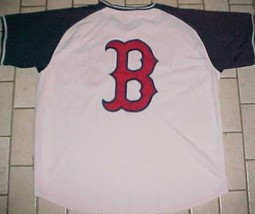 Boston Red Sox MLB AL East Stitches 2009 Logo White Blue Pullover Jersey 2XL - $44.50