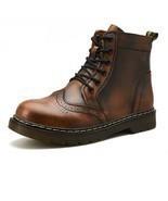 Men's Genuine Leather Winter Boots Warm Snow Fur Waterproof Ankle Martin... - $47.49+