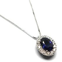 Necklace White Gold 750 18K,Flower,Sapphire 0.99 Oval,Diamonds,Chain Ven... - $781.97