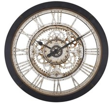 Large Wall Clock Roman Numeral Wall Decor Vintage Antique Industrial Rustic Gear - $69.18