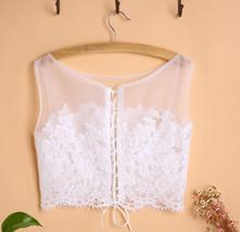 White Sleeveless Lace Crop Top Wedding Bridesmaid Lace Tops Custom Wedding Tops  image 3