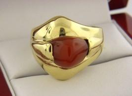Vintage Coral Anillo en Sólido 18k Oro Amarillo Hecho en Italia Tamaño 9.25 - $811.46