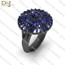 Double Halo 0.90CTTW Blue Sapphire Cocktail Engagement Ring Womens Gun M... - $109.47+