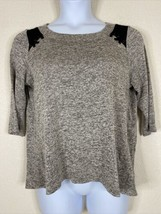 PerSeption Concept Womens Size XL Gray Heathered Knit Swing Blouse 3/4 S... - $14.85