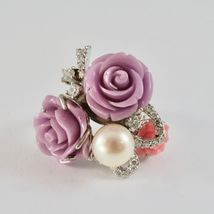 925 Silver Ring Rhodium with Zircon Cubic Roses of Resin and Pearl White image 4
